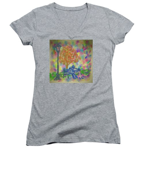 Feeding The Birds Women's V-Neck T-Shirt (Junior Cut) by Kevin Caudill