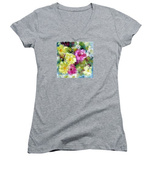 Women's V-Neck T-Shirt (Junior Cut) featuring the painting Felicidades by Katie Black