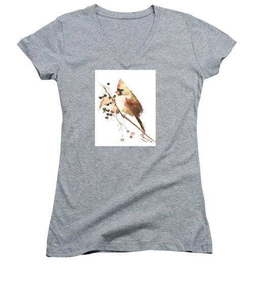 Female Cardinal Bird Women's V-Neck (Athletic Fit)