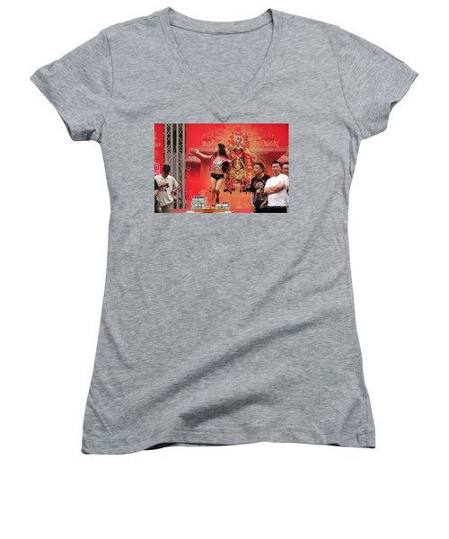 Women's V-Neck T-Shirt (Junior Cut) featuring the photograph Female Dancer At A Temple Ceremony by Yali Shi