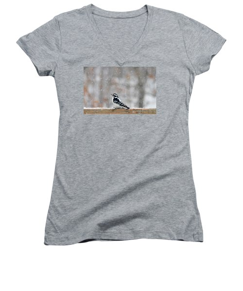 Female Downy Woodpecker Women's V-Neck T-Shirt (Junior Cut) by Diane Giurco