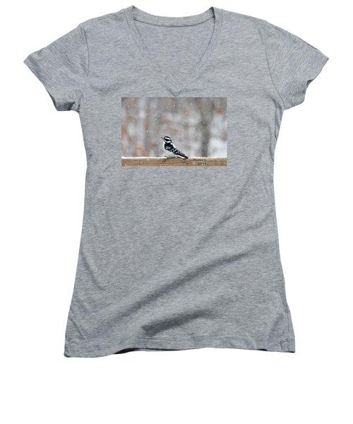 Female Downy Woodpecker Women's V-Neck T-Shirt
