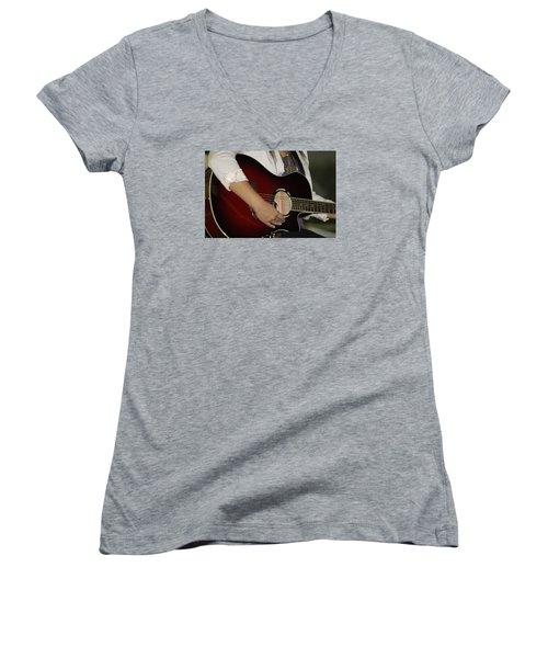Female Guitarist Women's V-Neck T-Shirt