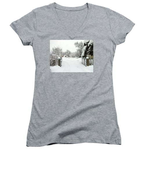 Women's V-Neck T-Shirt (Junior Cut) featuring the photograph Fence And  Gate In Winter by Wilhelm Hufnagl
