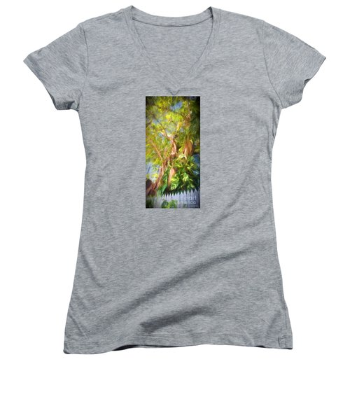 Women's V-Neck T-Shirt (Junior Cut) featuring the digital art Fence And Trees In Keys by Linda Olsen