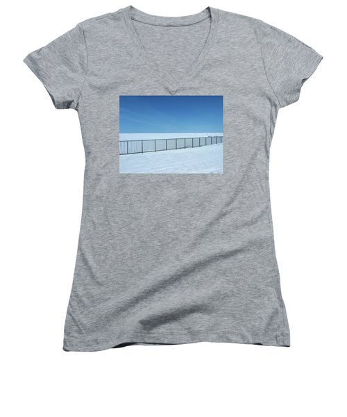 Fence In Snow Women's V-Neck