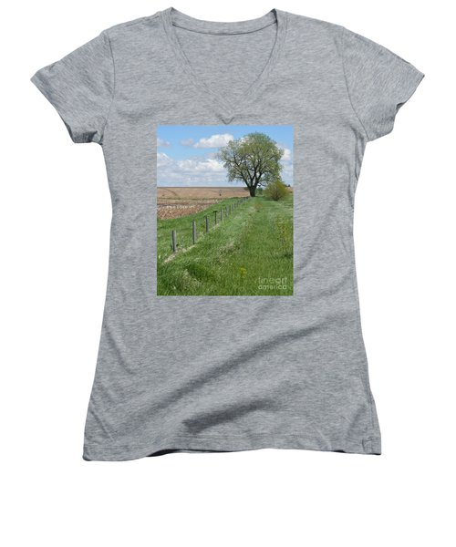 Fence Line Women's V-Neck T-Shirt (Junior Cut) by Renie Rutten