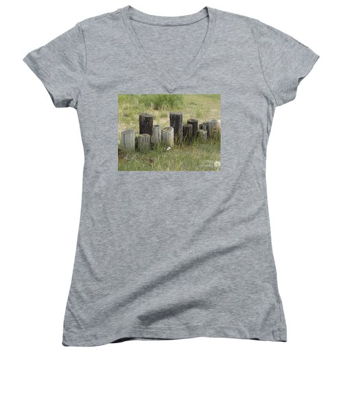 Fence Post All In A Row Women's V-Neck T-Shirt (Junior Cut) by Erick Schmidt