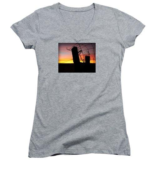 Fence Sunrise Women's V-Neck T-Shirt