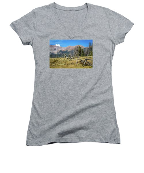 Fences Into The Rockies Women's V-Neck T-Shirt (Junior Cut) by Dawn Romine