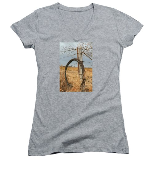 Women's V-Neck T-Shirt (Junior Cut) featuring the photograph Fencing With My Dad by Shirley Heier