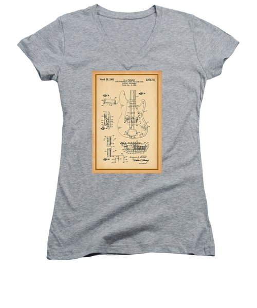 Fender Bass Guitar Pickup Patent Drawing Women's V-Neck (Athletic Fit)