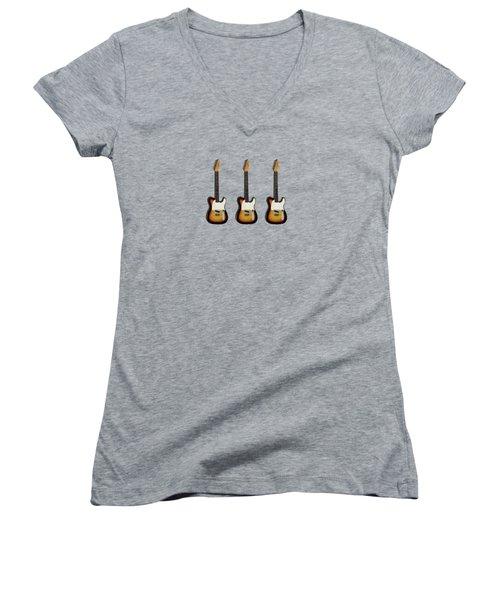 Fender Esquire 59 Women's V-Neck T-Shirt (Junior Cut) by Mark Rogan