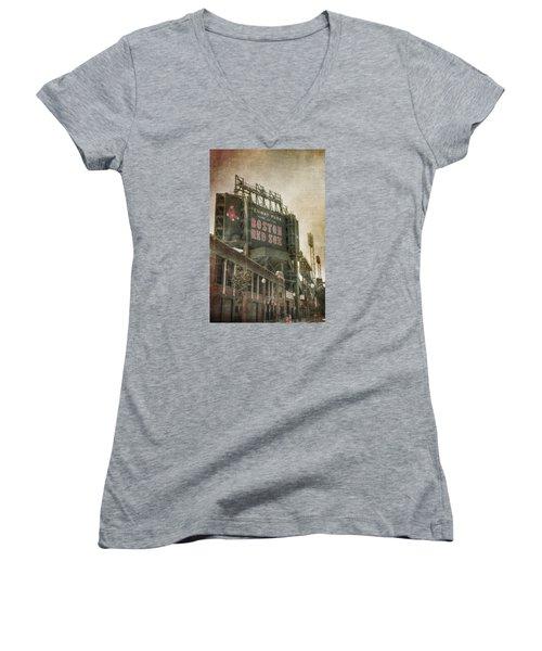 Fenway Park Billboard - Boston Red Sox Women's V-Neck T-Shirt (Junior Cut) by Joann Vitali