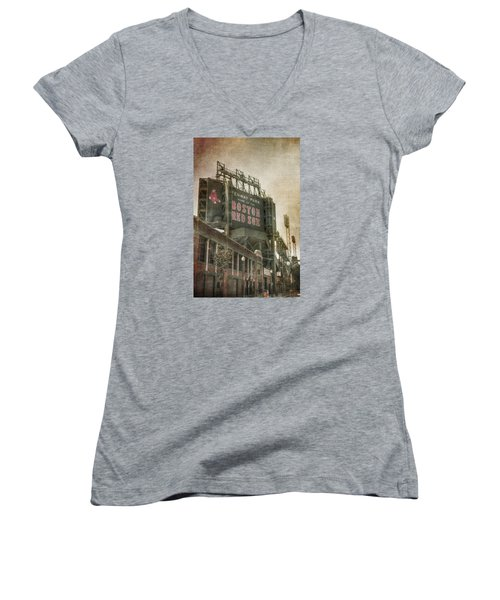 Fenway Park Billboard - Boston Red Sox Women's V-Neck T-Shirt