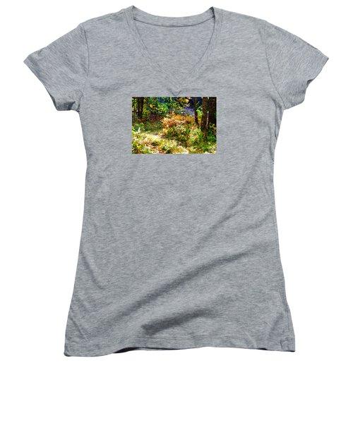 Women's V-Neck T-Shirt (Junior Cut) featuring the photograph Ferns by Susan Crossman Buscho