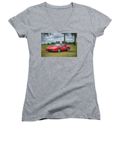 Women's V-Neck T-Shirt (Junior Cut) featuring the photograph Ferrari 328 Gts by Adrian Evans