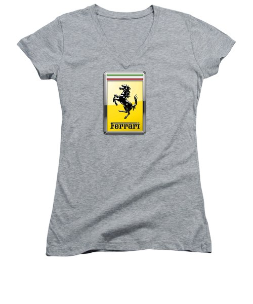 Ferrari 3d Badge- Hood Ornament On Yellow Women's V-Neck (Athletic Fit)