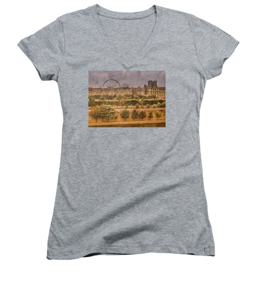 Paris, France - Ferris Wheel Women's V-Neck