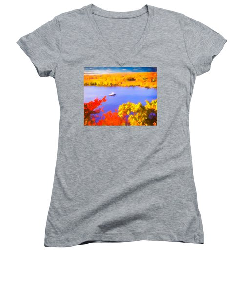 Ferry Crossing Connecticut River. Women's V-Neck