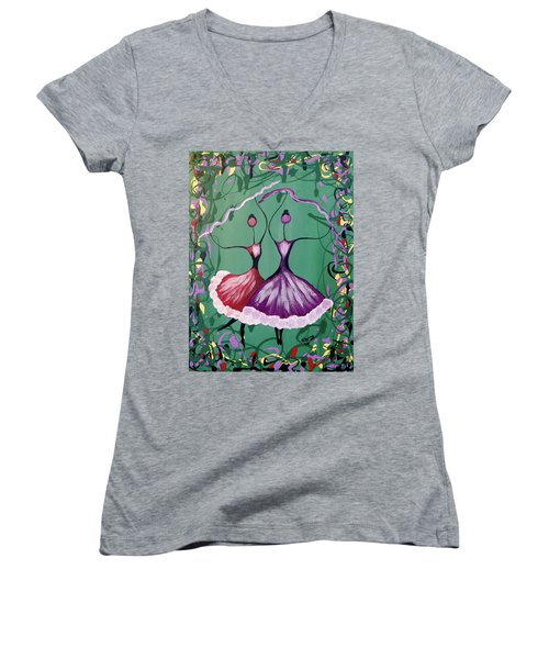 Festive Dancers Women's V-Neck