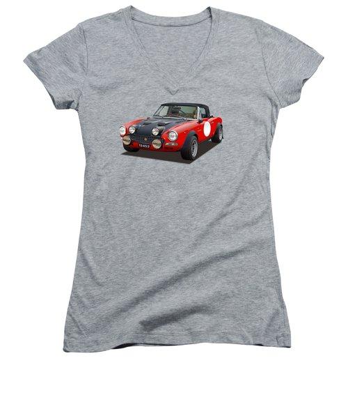 Fiat 124 Abarth Rally Illustration Women's V-Neck (Athletic Fit)