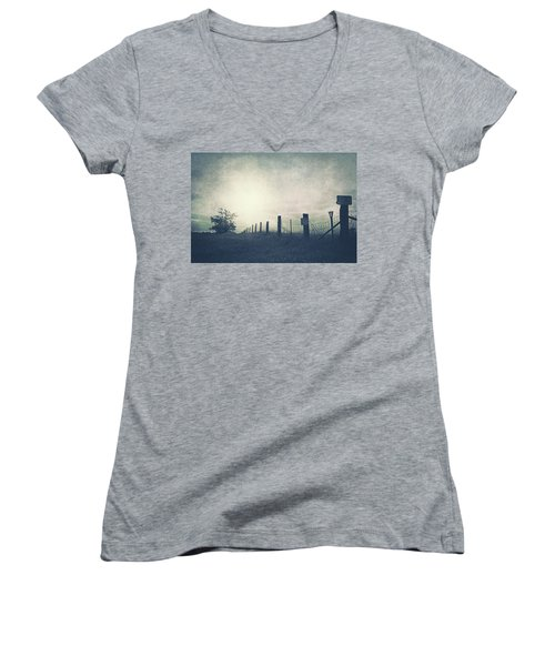 Field Beyond The Fence Women's V-Neck T-Shirt