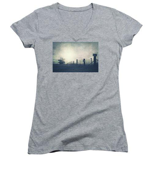 Field Beyond The Fence Women's V-Neck T-Shirt