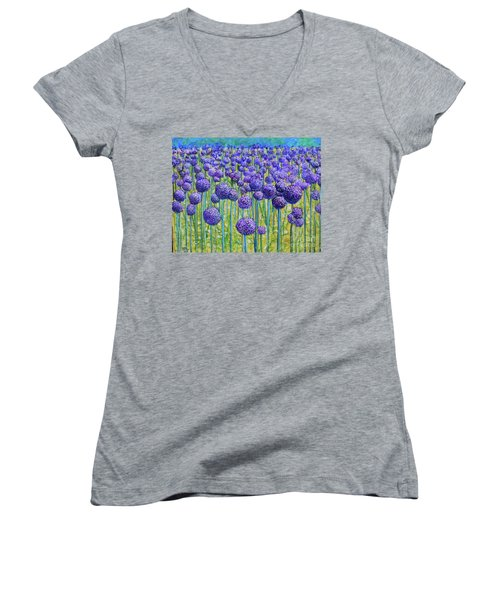 Field Of Allium Women's V-Neck (Athletic Fit)