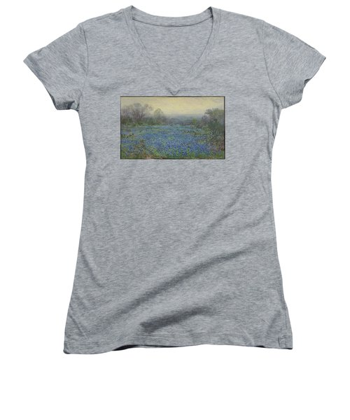 Field Of Bluebonnets Women's V-Neck T-Shirt (Junior Cut) by Julian Onderdonk