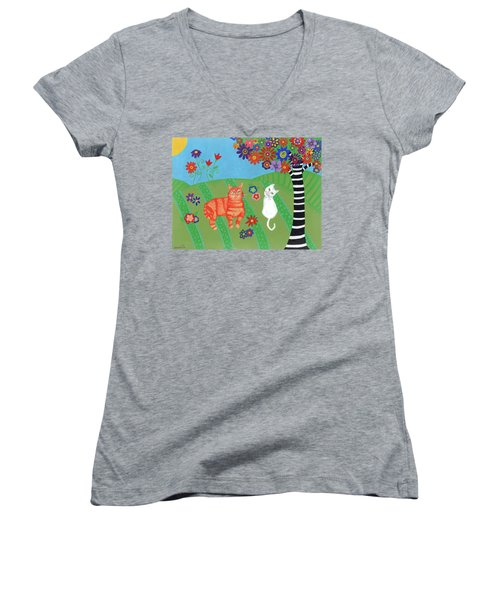 Field Of Cats And Dreams Women's V-Neck (Athletic Fit)