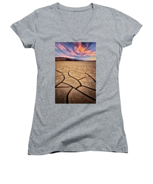 Field Of Cracks Women's V-Neck T-Shirt (Junior Cut) by Nicki Frates