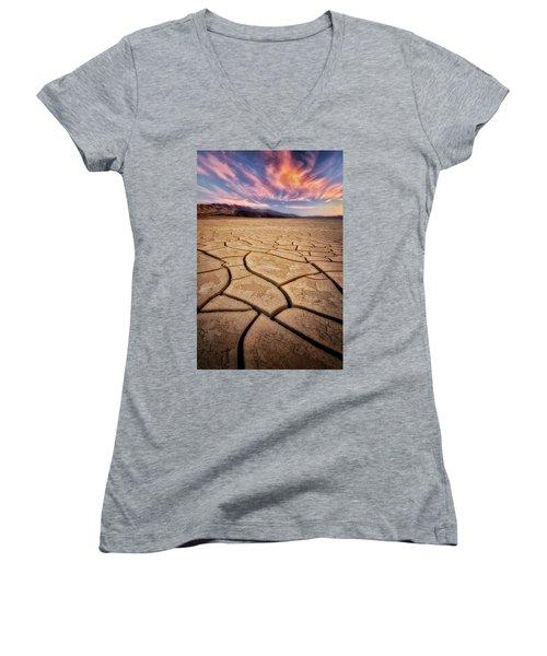 Field Of Cracks Women's V-Neck T-Shirt