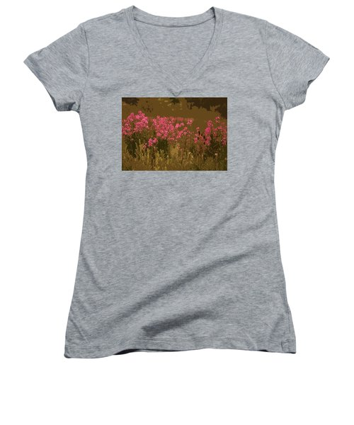 Field Of Flowers Women's V-Neck T-Shirt (Junior Cut) by Rowana Ray