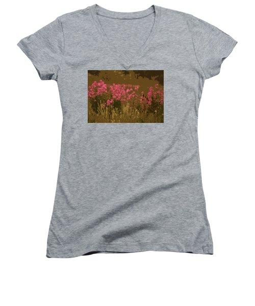 Field Of Flowers Women's V-Neck T-Shirt