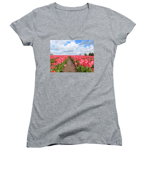 Field Of Pink Women's V-Neck (Athletic Fit)