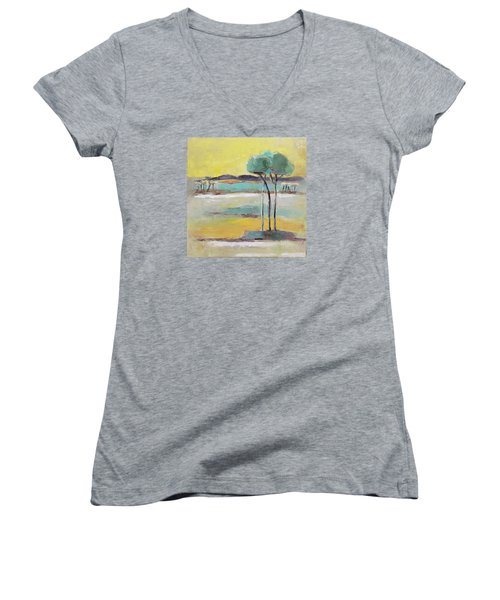 Women's V-Neck T-Shirt (Junior Cut) featuring the painting Standing In Distance by Becky Kim