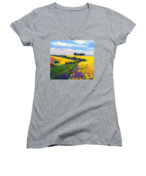 Fields Of Gold Women's V-Neck T-Shirt (Junior Cut) by Jane Small