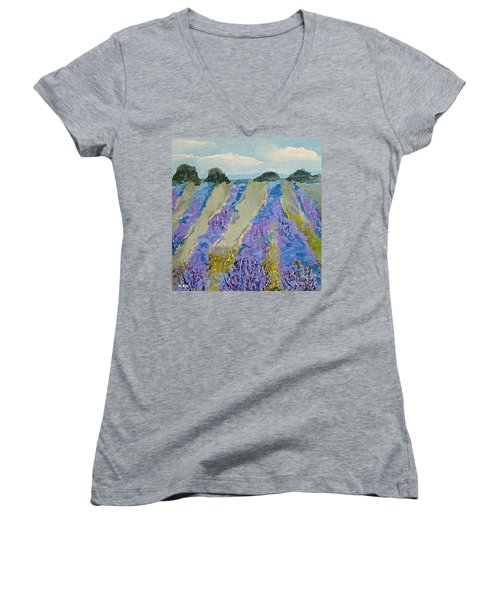Fields Of Lavender Women's V-Neck T-Shirt (Junior Cut)