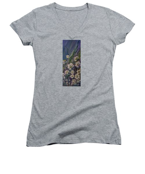 Women's V-Neck T-Shirt (Junior Cut) featuring the painting Fields Of White Flowers by AmaS Art
