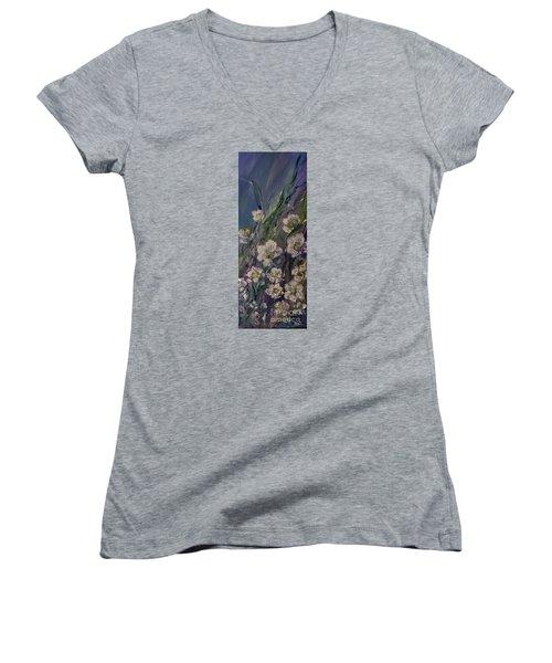 Fields Of White Flowers Women's V-Neck T-Shirt (Junior Cut) by AmaS Art