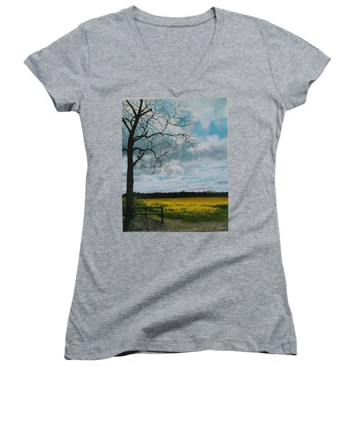 Fields Of Yellow Women's V-Neck (Athletic Fit)