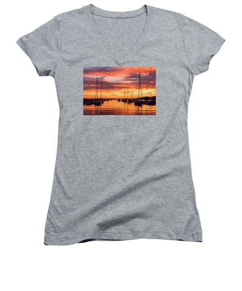 Fiery Lake Norman Sunset Women's V-Neck T-Shirt (Junior Cut) by Serge Skiba