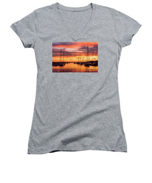 Fiery Lake Norman Sunset Women's V-Neck (Athletic Fit)