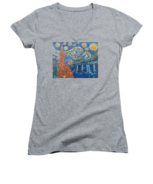 Fiery Night Women's V-Neck