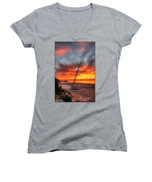 Fiery Sunset Women's V-Neck T-Shirt (Junior Cut) by John Loreaux