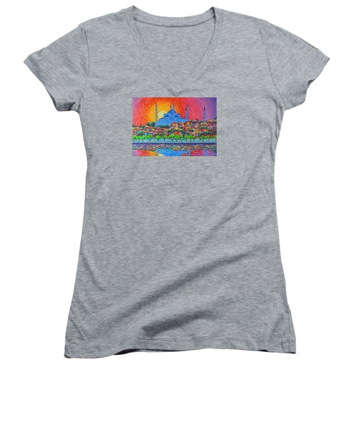 Fiery Sunset Over Blue Mosque Hagia Sophia In Istanbul Turkey Women's V-Neck
