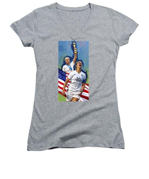 Women's V-Neck T-Shirt (Junior Cut) featuring the painting Fifa World Cup U.s Women Soccer Carli Lloyd Abby Wambach Artwork by Sheraz A