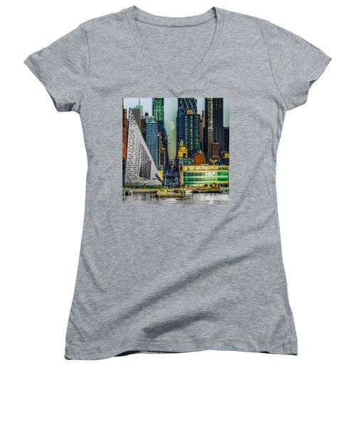 Women's V-Neck T-Shirt (Junior Cut) featuring the photograph Fifty-seventh Street Fantasy by Chris Lord