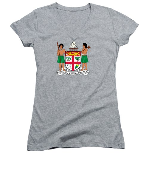 Women's V-Neck T-Shirt (Junior Cut) featuring the drawing Fiji Coat Of Arms by Movie Poster Prints